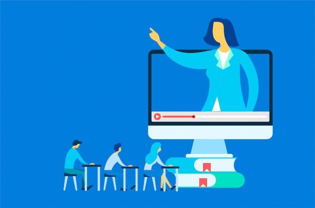 Illustration de cours en ligne Vecteur Premium