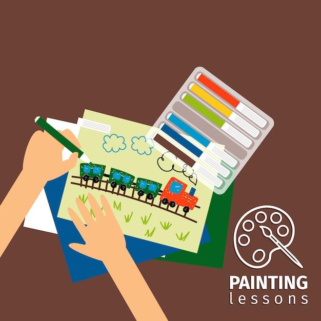 Illustration de cours de peinture pour enfants Vecteur Premium