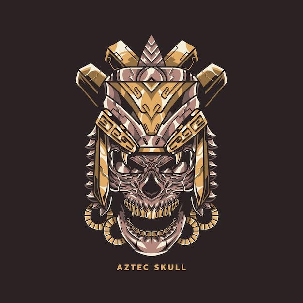Illustration de crâne aztèque Vecteur Premium
