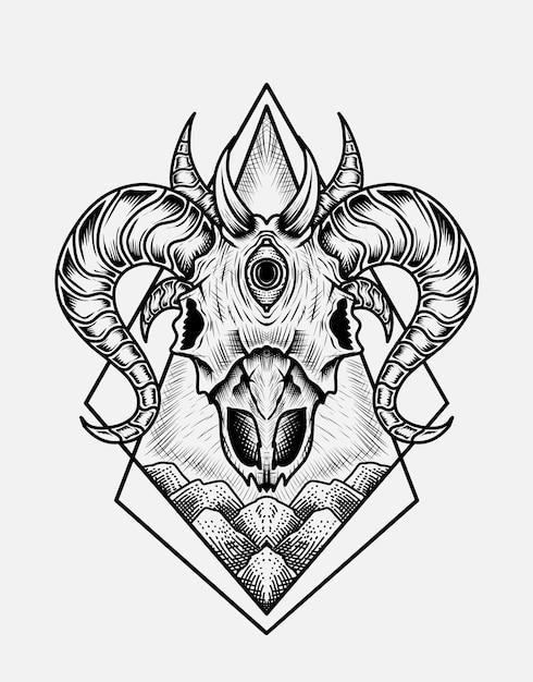 Illustration Crâne De Chèvre Effrayant Vecteur Premium