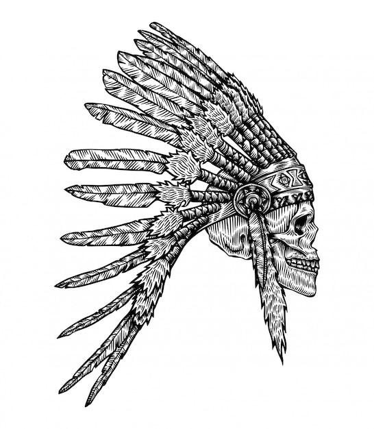 Illustration de crâne coiffe tribu indienne Vecteur Premium