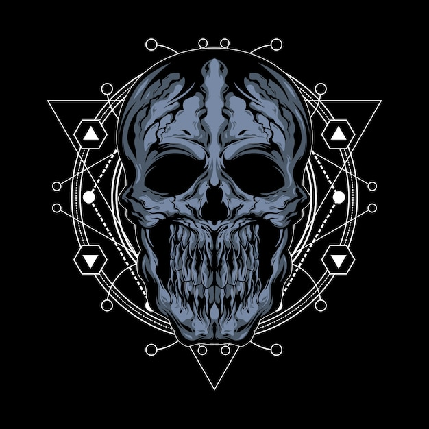 Illustration De Crâne Fissuré Avec Géométrie Sacrée Vecteur Premium