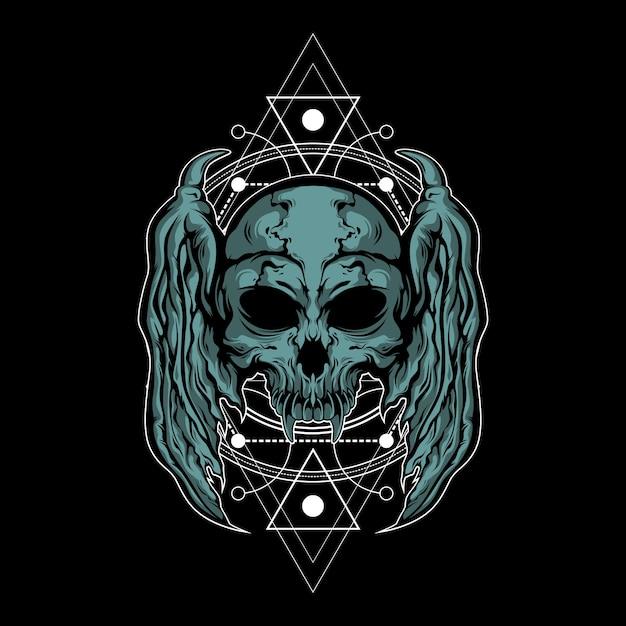 Illustration De Crâne En Métal Avec Géométrie Sacrée Vecteur Premium