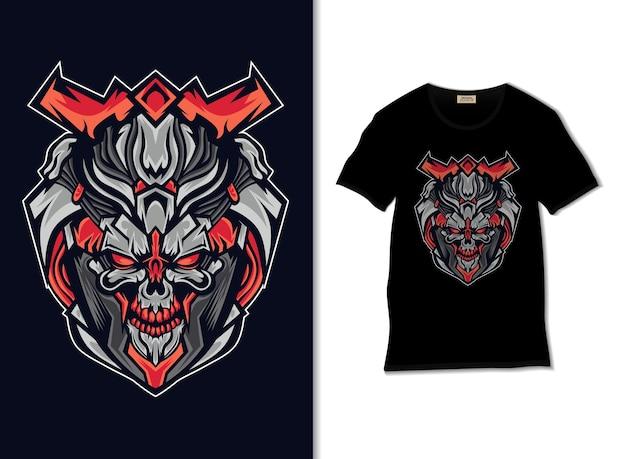 Illustration De Crâne Osseux Avec Conception De T-shirt Vecteur Premium