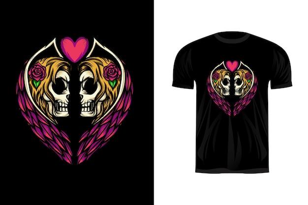 Illustration De Crânes D'ange Jumeaux Pour La Conception De T-shirts Vecteur Premium