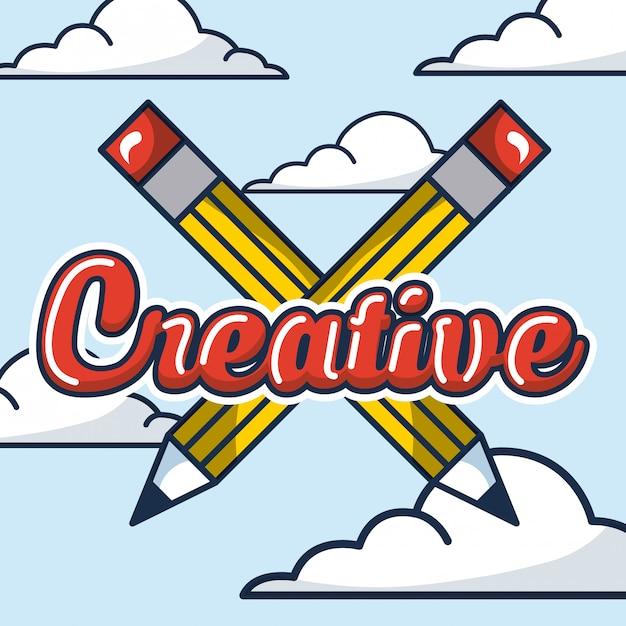 Illustration De Crayons Croisés Vecteur gratuit
