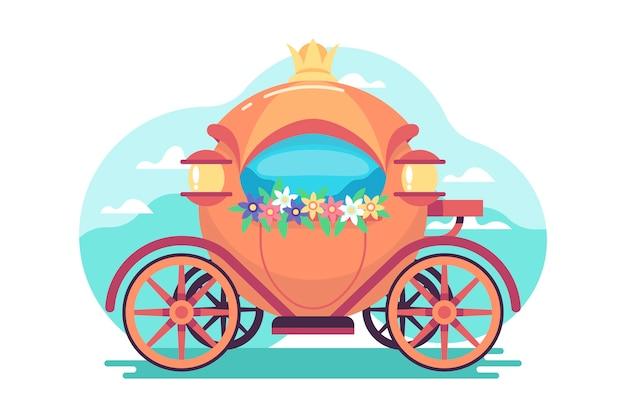 Illustration Créative De Chariot De Conte De Fées Vecteur gratuit