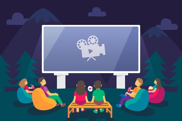 Illustration Créative D'un Cinéma En Plein Air Vecteur gratuit
