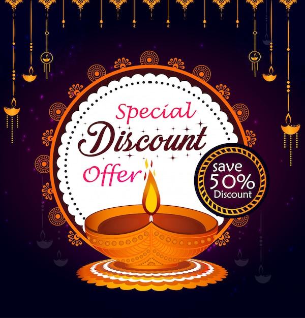 Illustration créative pour diwali heureux en grande vente Vecteur Premium