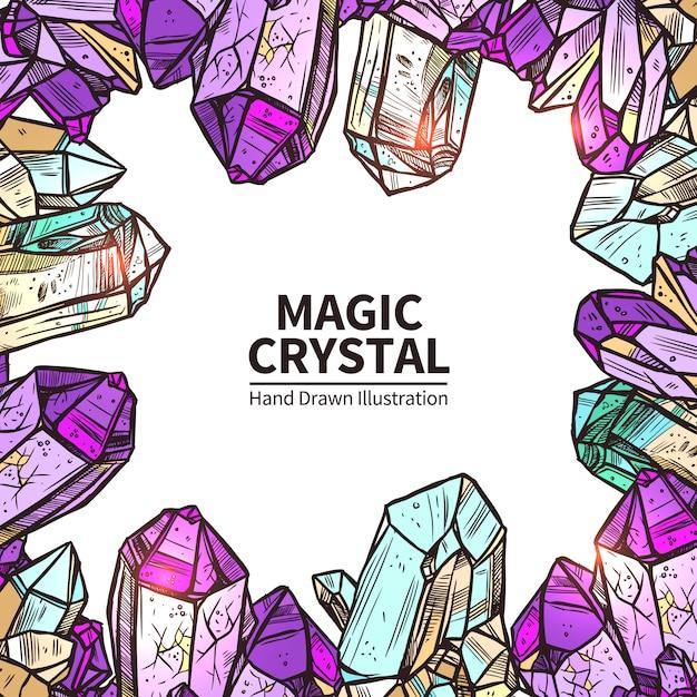 Illustration de cristaux dessinés à la main Vecteur gratuit