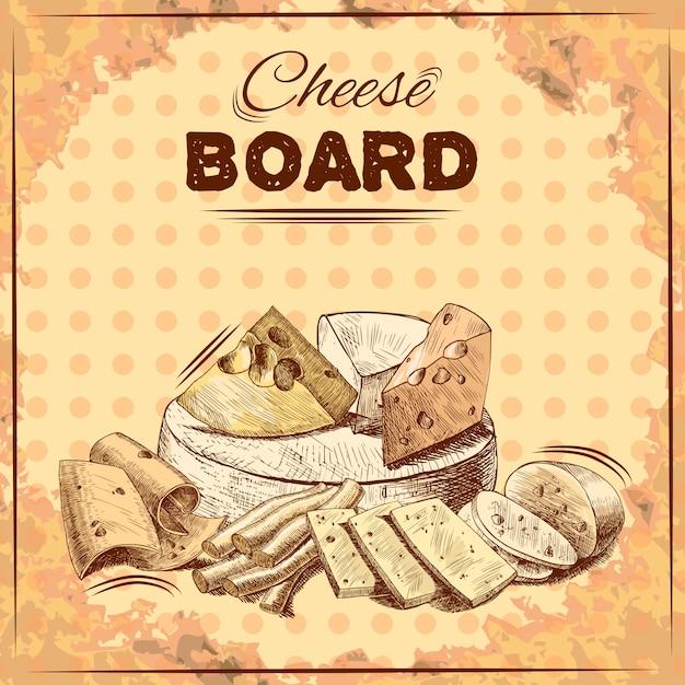 Illustration de croquis de fromage Vecteur gratuit