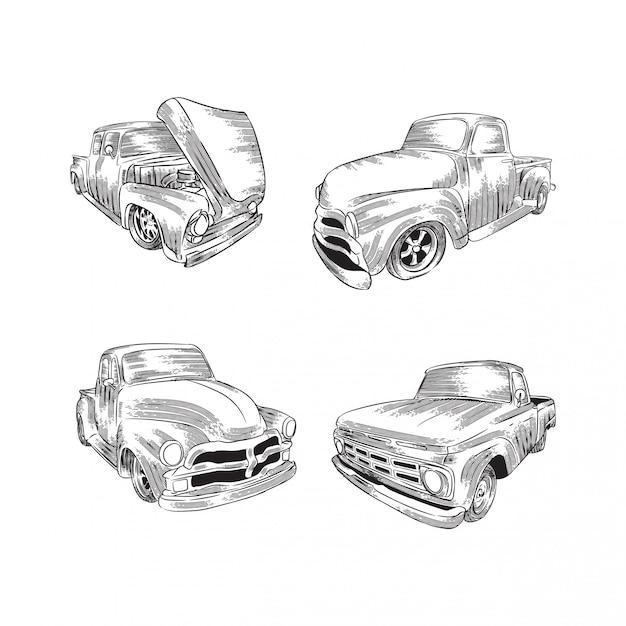 Illustration de croquis de ligne voiture rétro Vecteur Premium