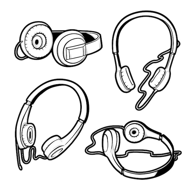 Illustration De Croquis Noir Et Blanc De Jeu D'écouteurs Avec Microphone Et Sans. Dessin Isolé Du Casque D'écoute Sous Différents Angles. Vecteur Premium