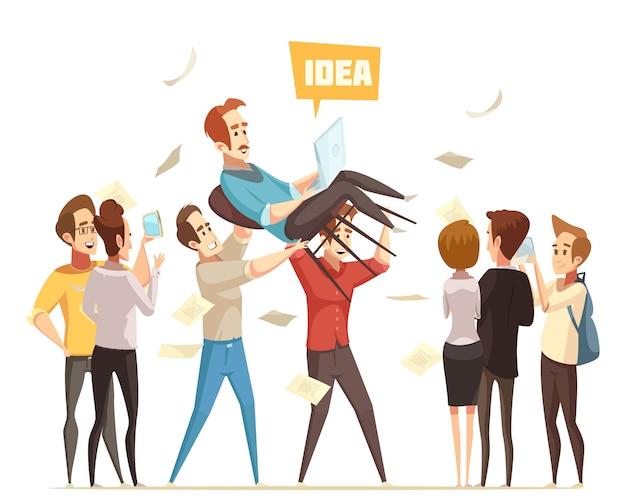 Illustration de crowdfunding Vecteur gratuit