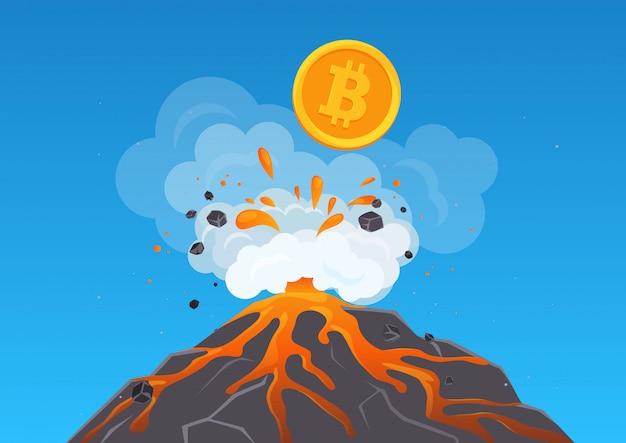 Illustration De La Crypto-monnaie Bitcoin Convulsant Hors Du Volcan Avec De La Lave. Bitcoun Se Développe Rapidement. Vecteur Premium