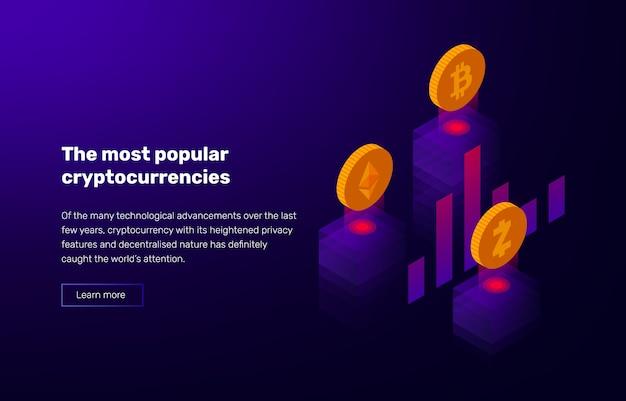 Illustration De La Crypto-monnaie Populaire. Bannière Avec Notation De Bitcoin Et Altcoins. Vecteur Premium