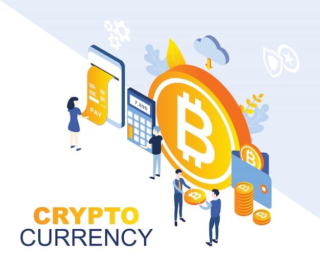 Illustration de la crypto monnaie Vecteur Premium