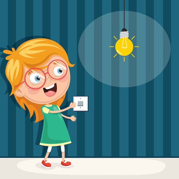 illustration d 39 un enfant qui allume la lumi re t l charger des vecteurs premium. Black Bedroom Furniture Sets. Home Design Ideas