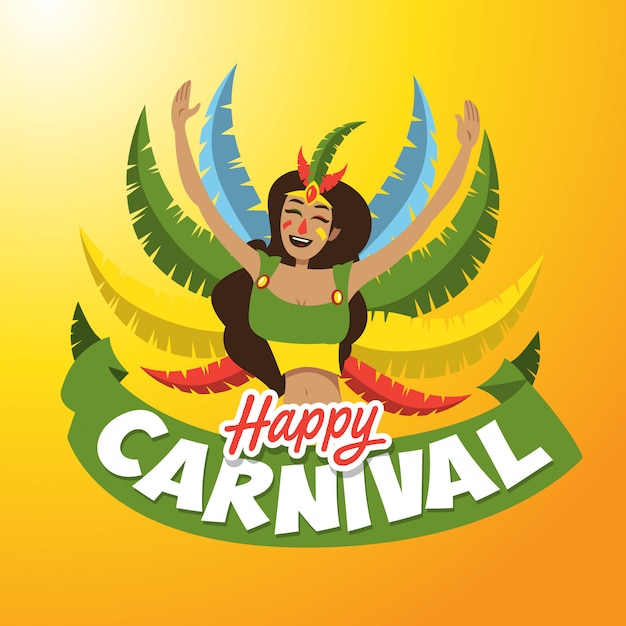Illustration de dame de carnaval Vecteur Premium
