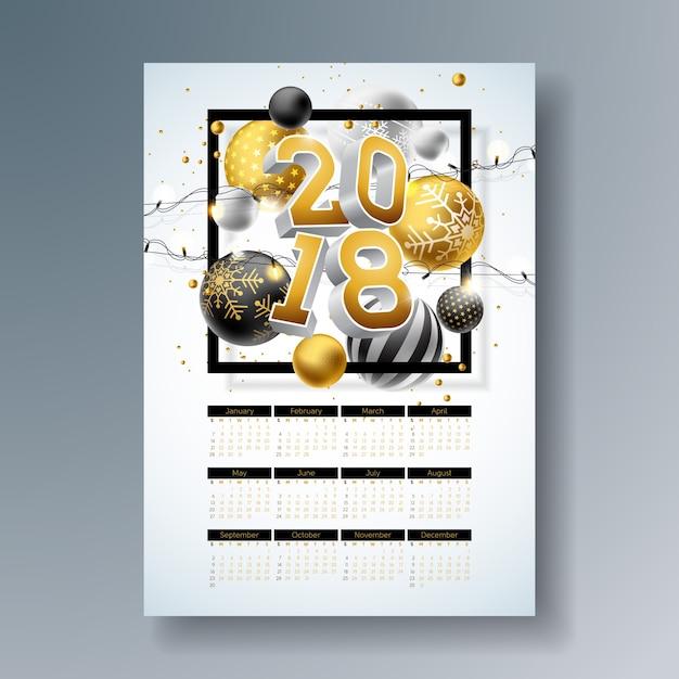 calendrier 2018 pour noel Illustration de calendrier 2018 modèle avec numéro 3d or, boule de  calendrier 2018 pour noel
