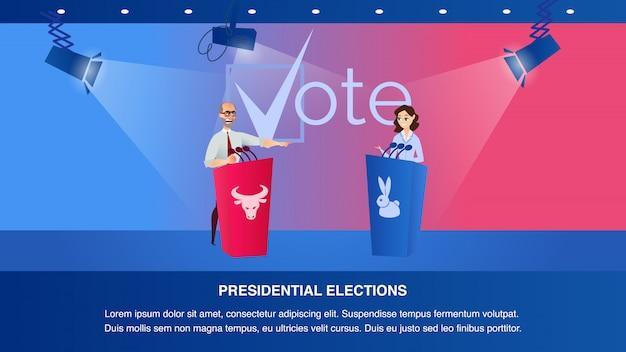 Illustration débat deux candidat à la présidentielle Vecteur Premium