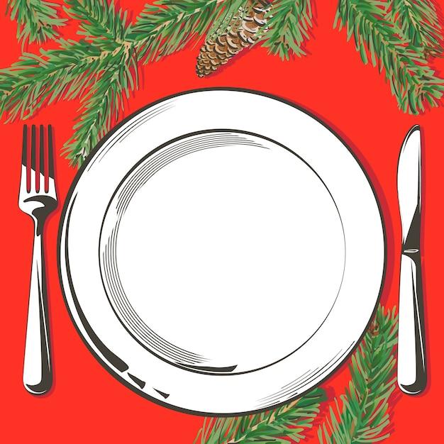 Illustration De La Décoration De Table De Noël Vecteur Premium