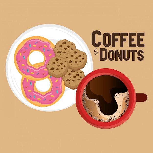 Illustration d'une délicieuse tasse à café et des beignes Vecteur gratuit
