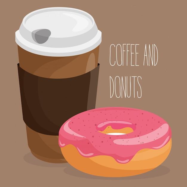 Illustration de délicieux pot en plastique café et beignet Vecteur gratuit
