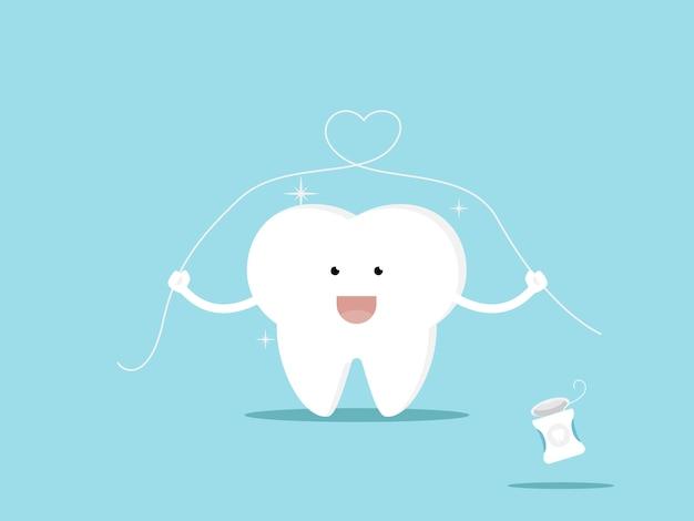 Illustration de dent et illustration de dessin animé de soie dentaire Vecteur Premium