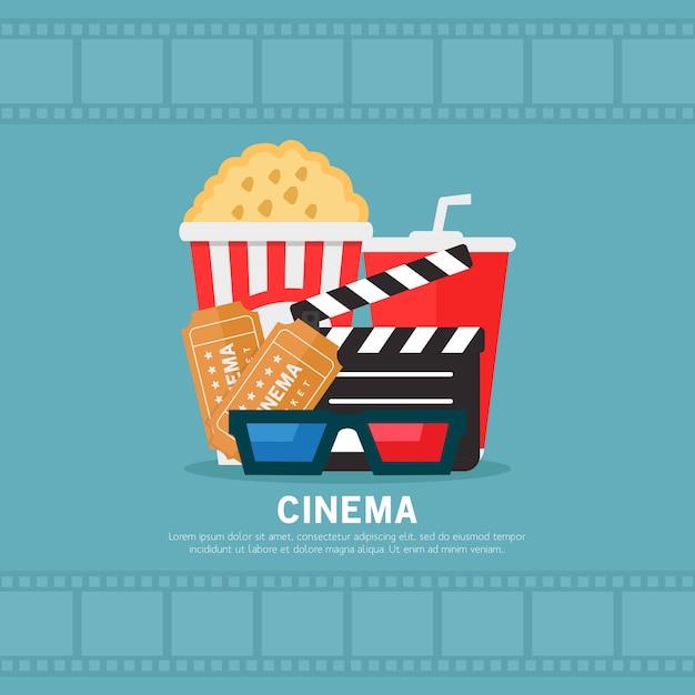 Illustration de design plat de cinéma Vecteur Premium