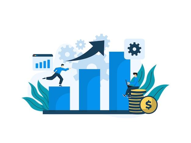 Illustration De Design Plat Moderne De Data Analytics. Peut être Utilisé Pour Le Site Web Et Le Site Web Mobile Ou La Page De Destination. Illustration Vecteur Premium