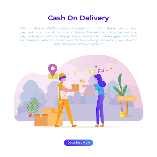 Illustration de design plat de paiement à la livraison lorsque vous achetez quelque chose dans une boutique en ligne ou dans un magasin en ligne Vecteur Premium