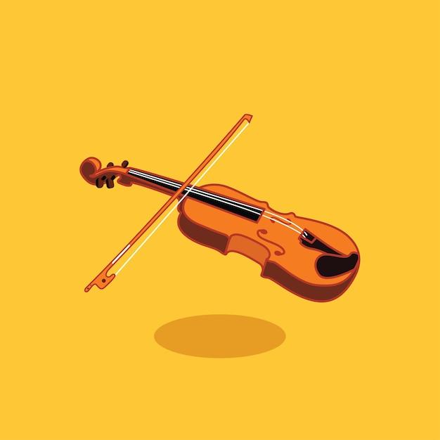 Illustration de design plat pour le violon en bois wisth bow vector Vecteur Premium