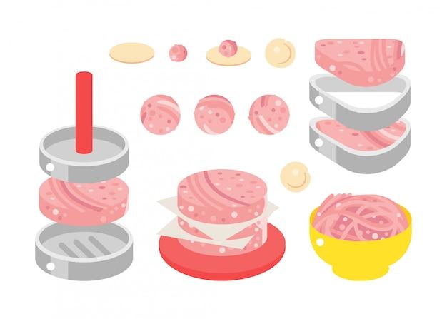 Illustration de design plat de produits de viande Vecteur Premium