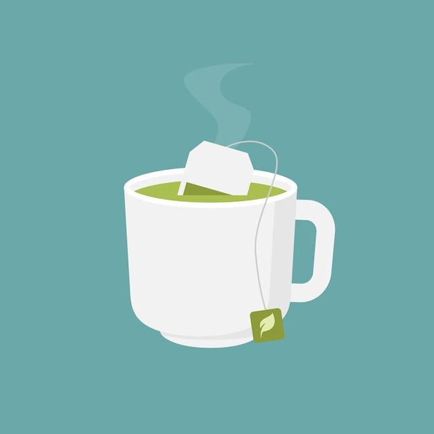 Illustration De Design Plat Tasse De Thé Vert Chaud Vecteur Premium