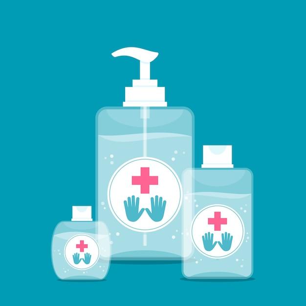 Illustration Avec Un Désinfectant Pour Les Mains Vecteur gratuit
