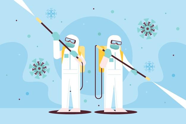 Illustration De Désinfection Par Virus Vecteur gratuit