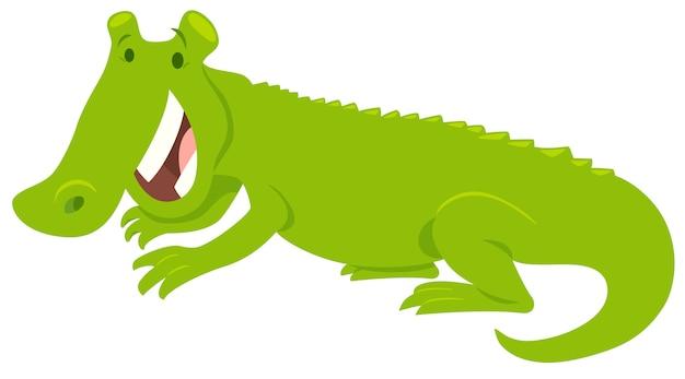 Illustration de dessin animé d'un animal heureux en crocodile Vecteur Premium