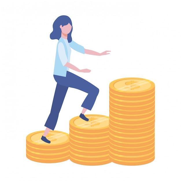Illustration de dessin animé d'avatar de femme d'affaires Vecteur Premium