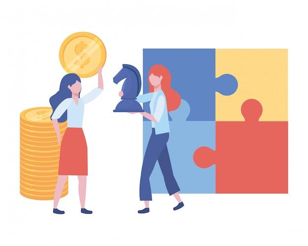 Illustration de dessin animé d'avatar de femmes d'affaires Vecteur Premium