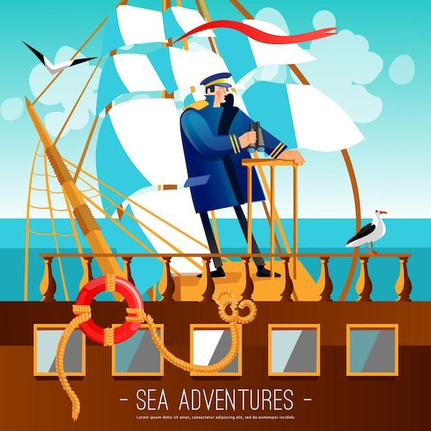Illustration de dessin animé d'aventures marines Vecteur gratuit