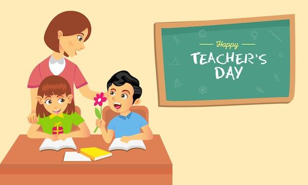 Illustration De Dessin Animé De Bonne Journée Des Enseignants. Convient Pour Carte De Voeux, Affiche Et Bannière Vecteur Premium