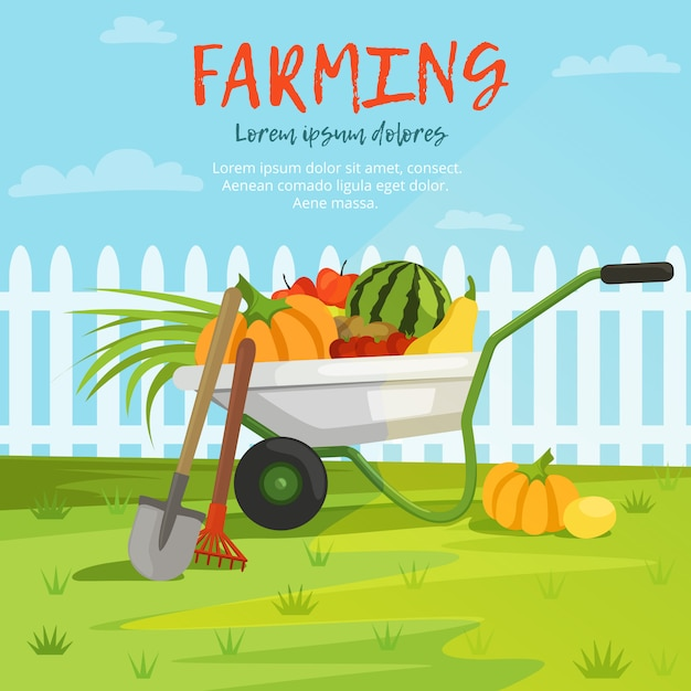 Illustration de dessin animé de brouette avec des légumes Vecteur Premium
