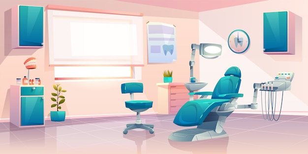 Illustration de dessin animé de bureau de dentiste moderne Vecteur gratuit