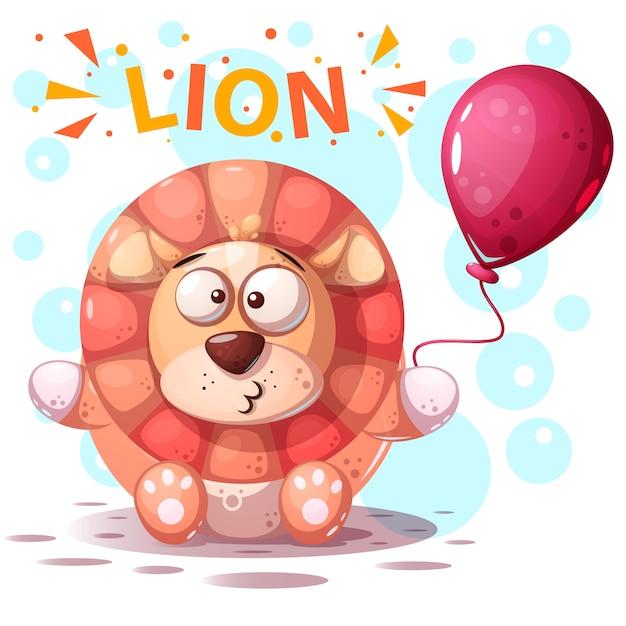 Illustration de dessin animé de caractère lion mignon. Vecteur Premium