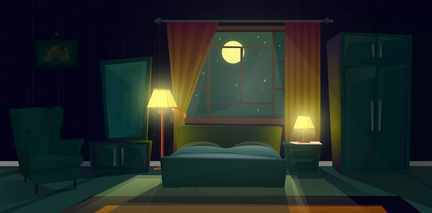 Illustration de dessin animé d'une chambre confortable dans la nuit. intérieur moderne du salon avec lit double Vecteur gratuit