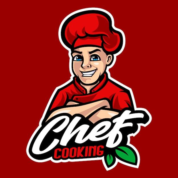 Illustration De Dessin Animé Chef Mascotte Vecteur Premium