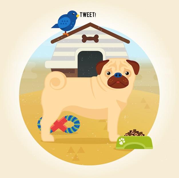 Illustration de dessin animé chien carlin dans un style plat Vecteur Premium