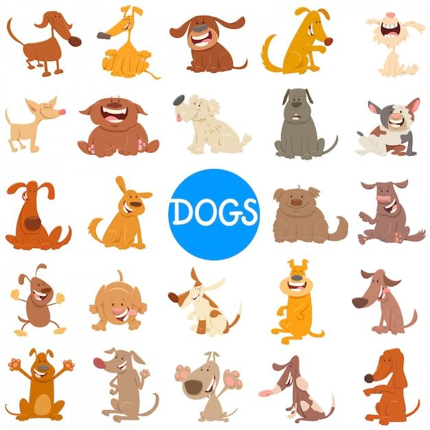 Illustration de dessin animé de chiens et chiots grand ensemble Vecteur Premium