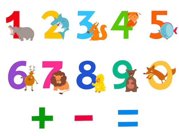 Illustration de dessin animé de chiffres sertie d'animaux Vecteur Premium